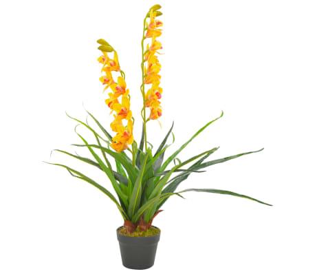 vidaXL Planta artificial orquídea con macetero 90 cm amarilla[1/2]
