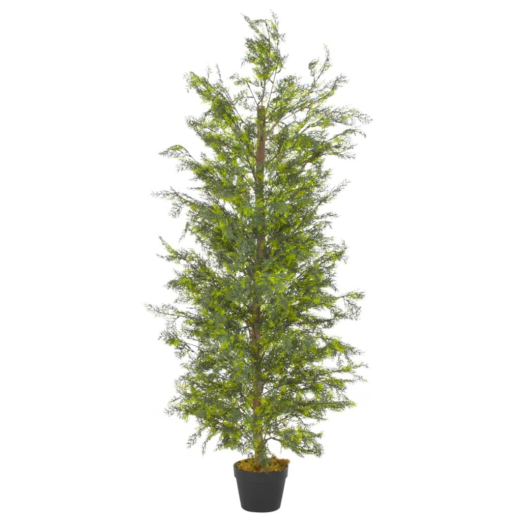 vidaXL Plantă artificială chiparos cu ghiveci, verde, 150 cm imagine vidaxl.ro