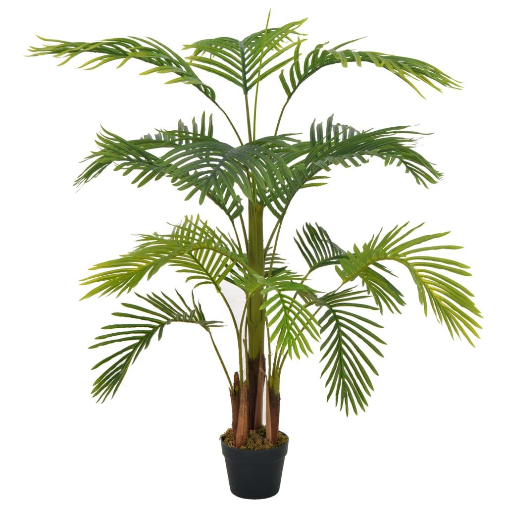 vidaXL Plantă artificială palmier cu ghiveci, verde, 120 cm poza 2021 vidaXL