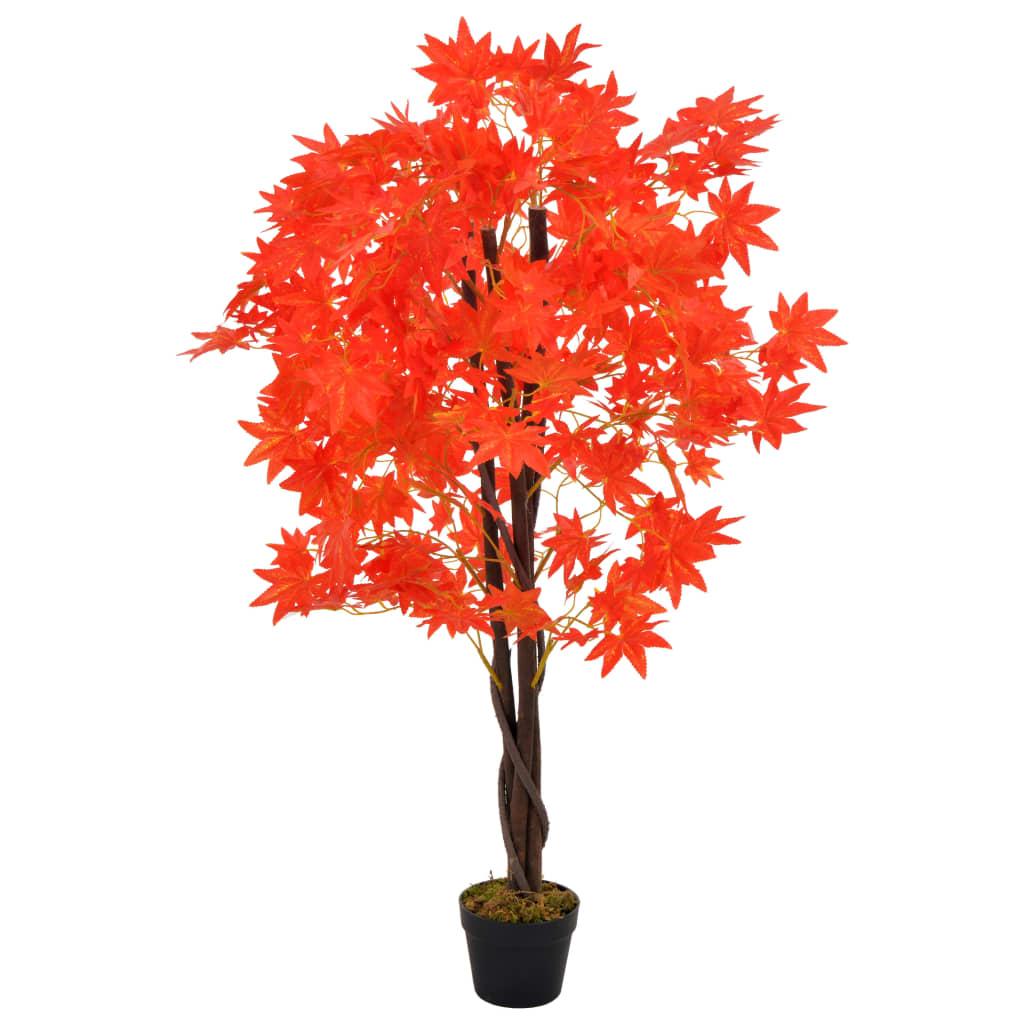 vidaXL Plantă artificială arțar cu ghiveci, roșu, 120 cm imagine vidaxl.ro