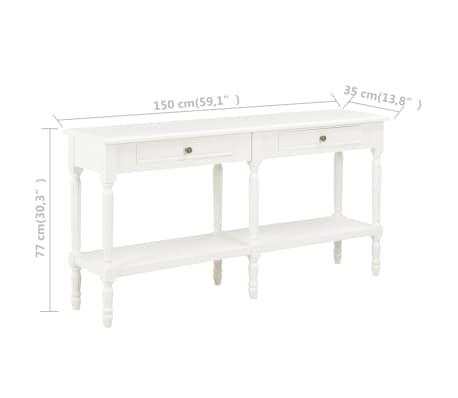 vidaXL Komoda, biała, 150x35x77 cm, lite drewno[8/8]