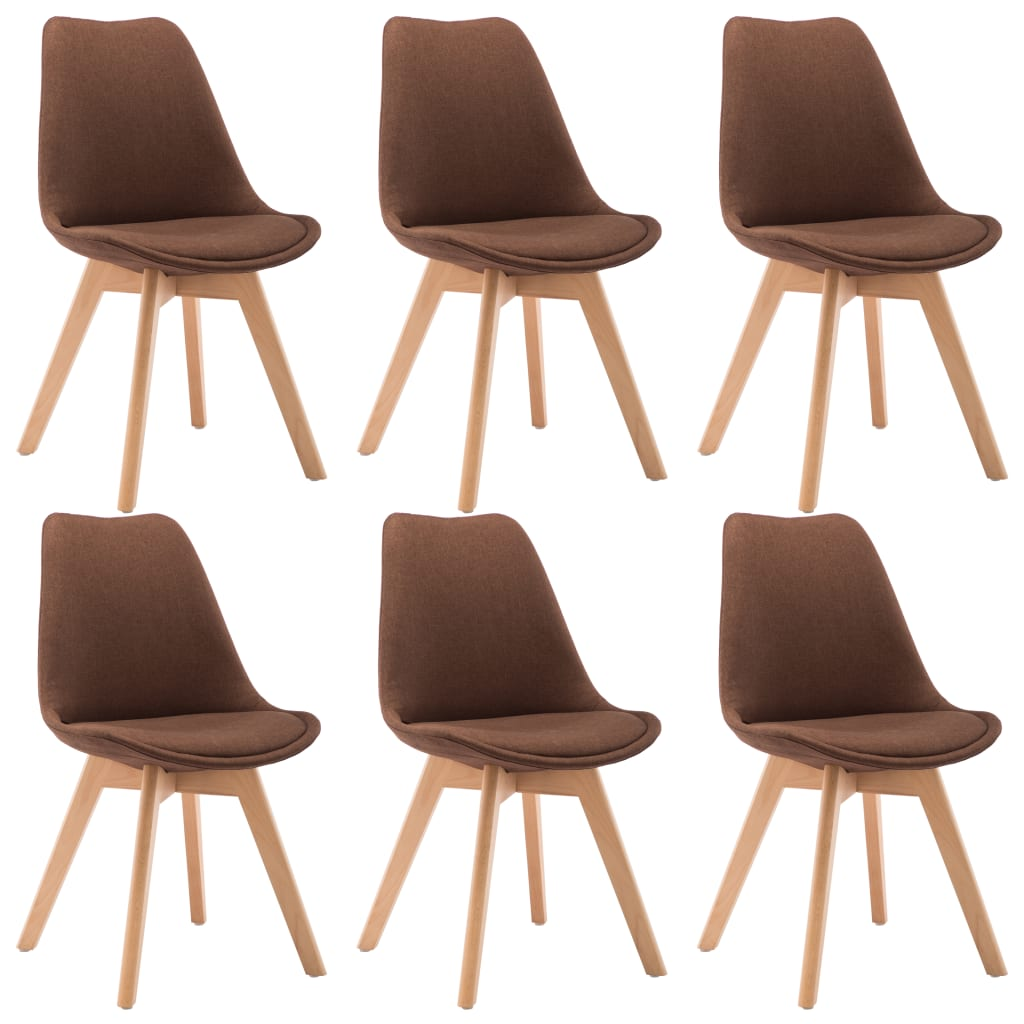 vidaXL Καρέκλες Τραπεζαρίας 6 τεμ. Καφέ Υφασμάτινες
