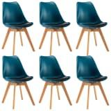 vidaXL Blagovaonske stolice 6 kom tirkizno-crne