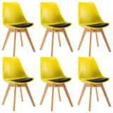 vidaXL Valgomojo kėdės, 6 vnt., geltonos ir juodos spalvos