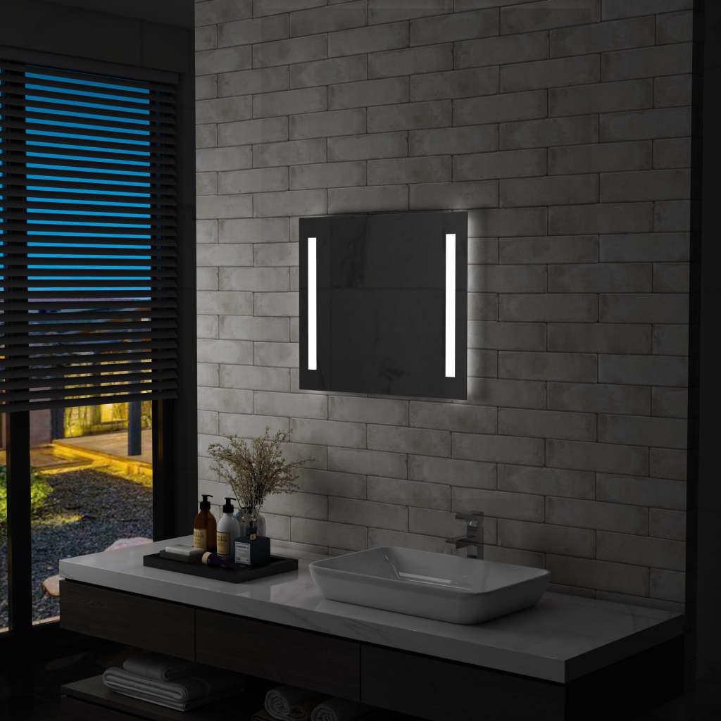 vidaXL Ścienne lustro łazienkowe z LED, 60 x 50 cm