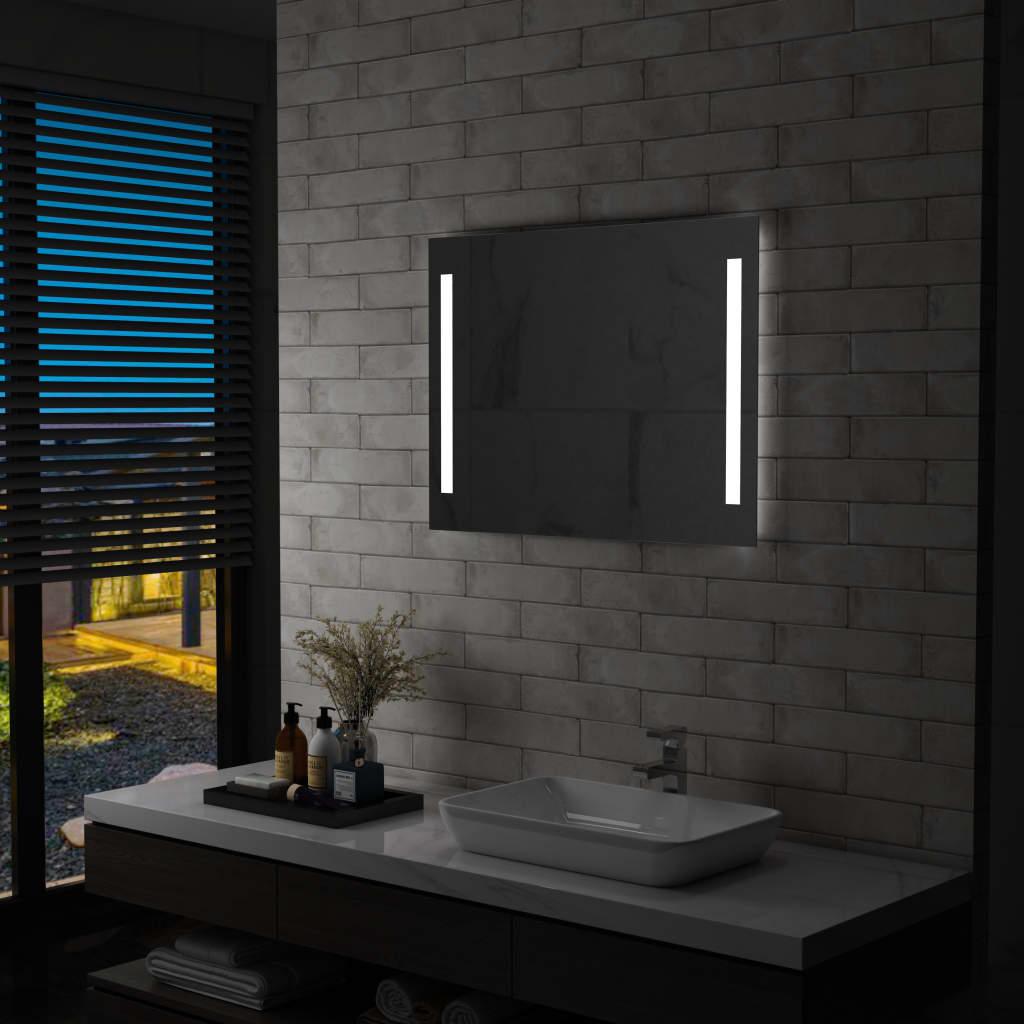vidaXL Oglindă de perete de baie cu LED, 80 x 60 cm poza vidaxl.ro