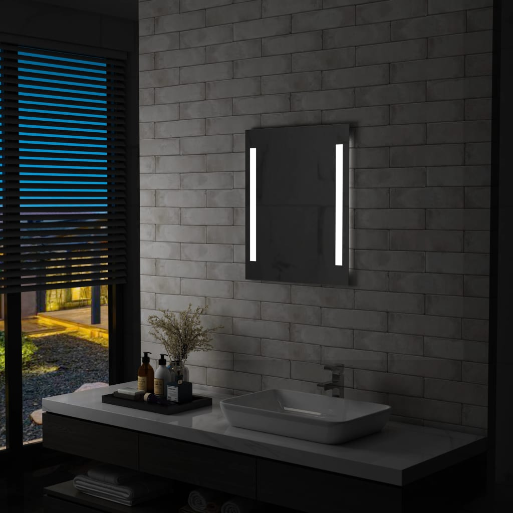 vidaXL Ścienne lustro łazienkowe z LED, z półką, 50 x 70 cm