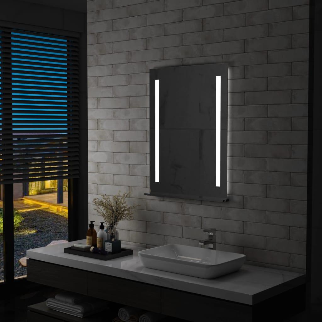 vidaXL Ścienne lustro łazienkowe z LED, z półką, 60 x 80 cm