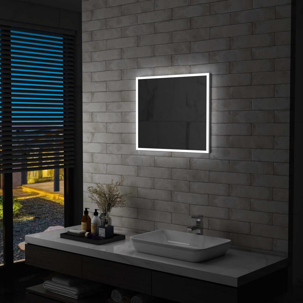 vidaXL Oglindă cu LED de perete pentru baie, 60 x 50 cm imagine vidaxl.ro