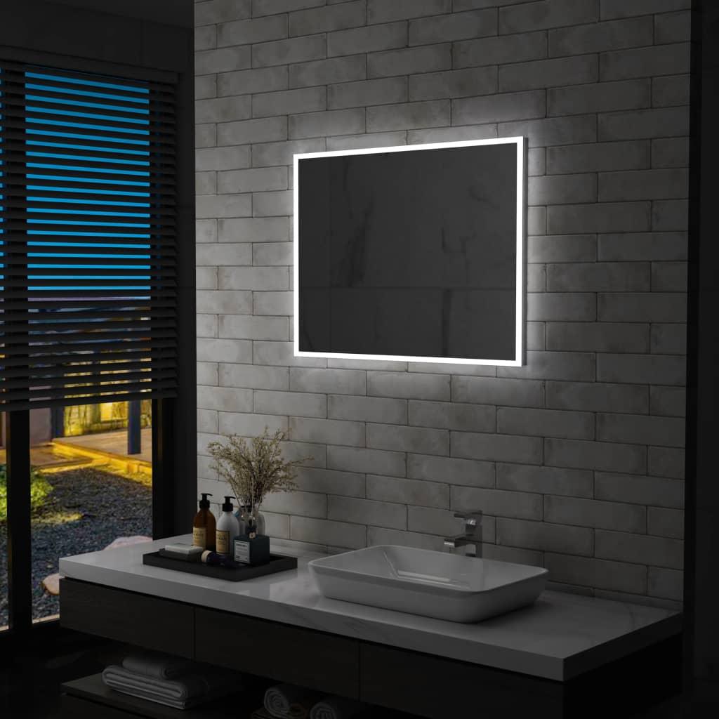 vidaXL Oglindă cu LED de perete pentru baie, 80 x 60 cm poza vidaxl.ro