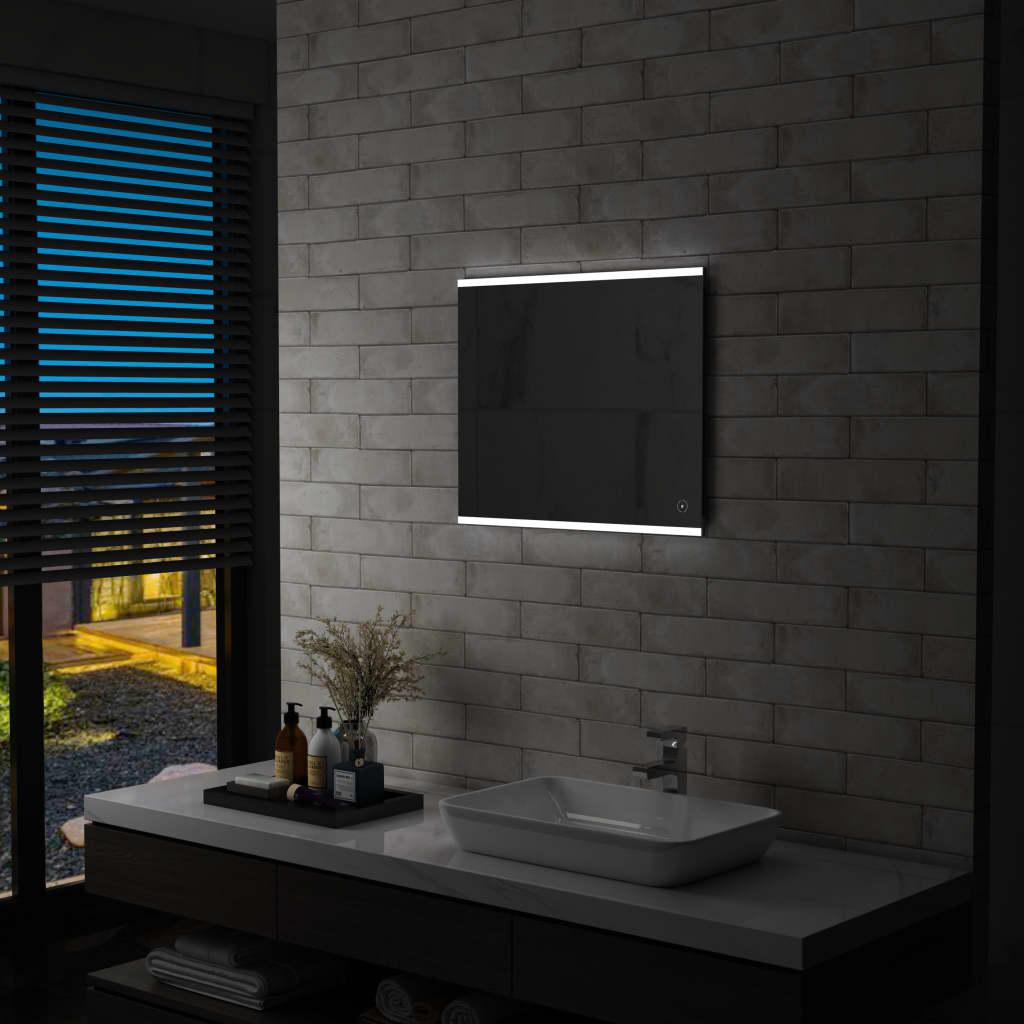 vidaXL Oglindă cu LED de perete de baie cu senzor tactil, 60 x 50 cm poza 2021 vidaXL