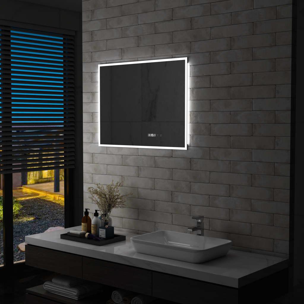 vidaXL Badkamerspiegel LED met aanraaksensor en tijdweergave 80x60 cm