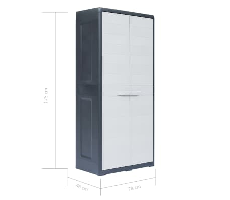 vidaXL Dulap de depozitare pentru grădină, 78x46x175 cm, plastic, XL[10/10]