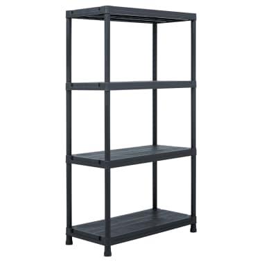 vidaXL Raft de depozitare, negru, 60 x 30 x 138 cm, plastic, 100 kg[1/8]