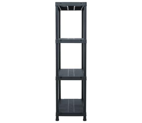 vidaXL Raft de depozitare, negru, 60 x 30 x 138 cm, plastic, 100 kg[3/8]