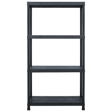 vidaXL Raft de depozitare, negru, 60 x 30 x 138 cm, plastic, 100 kg[2/8]