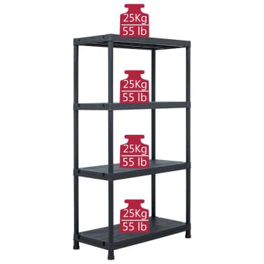 vidaXL Raft de depozitare, negru, 60 x 30 x 138 cm, plastic, 100 kg[7/8]