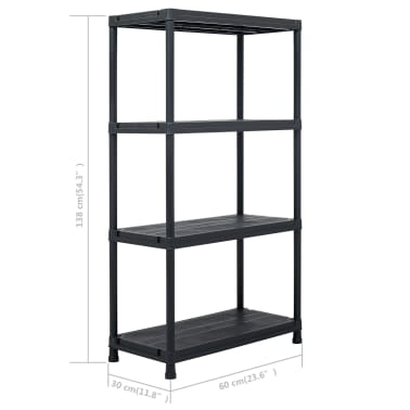 vidaXL Raft de depozitare, negru, 60 x 30 x 138 cm, plastic, 100 kg[8/8]