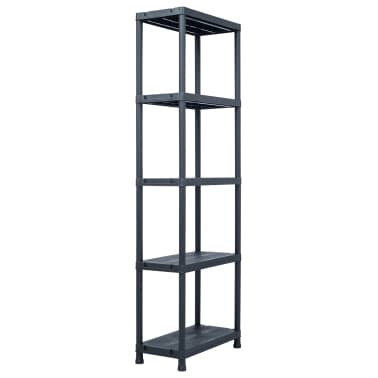 vidaXL Sandėliavimo lentyna, juoda, 60x30x180cm, plastikas, 125kg[1/8]