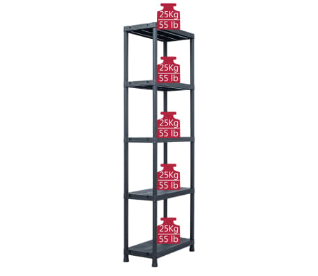 vidaXL Sandėliavimo lentyna, juoda, 60x30x180cm, plastikas, 125kg[7/8]