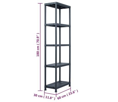 vidaXL Sandėliavimo lentyna, juoda, 60x30x180cm, plastikas, 125kg[8/8]