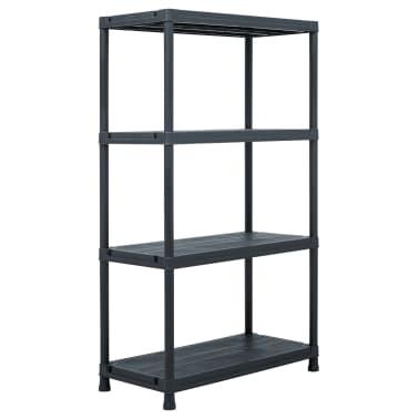 vidaXL Raft de depozitare, negru, 80 x 40 x 138 cm, plastic, 200 kg[1/8]