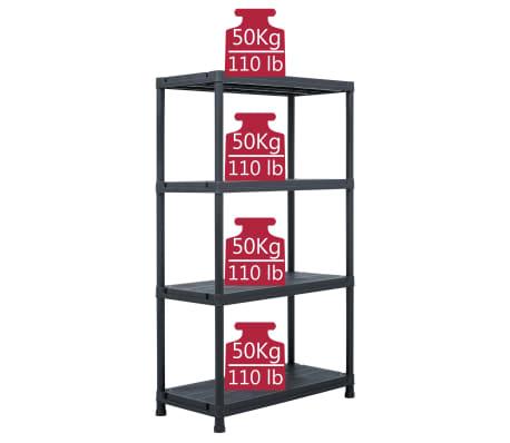 vidaXL Raft de depozitare, negru, 80 x 40 x 138 cm, plastic, 200 kg[7/8]