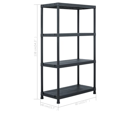 "vidaXL Storage Shelf Rack Black 440.9 lb 31.5""x15.7""x54.3"" Plastic[8/8]"