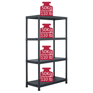"vidaXL Storage Shelf Rack Black 440.9 lb 31.5""x15.7""x54.3"" Plastic[7/8]"