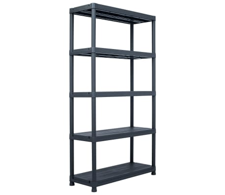 "vidaXL Storage Shelf Rack Black 551.2 lb 31.5""x15.7""x70.9"" Plastic"