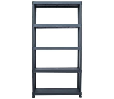vidaXL Sandėliavimo lentyna, juoda, 80x40x180cm, plastikas, 250kg[2/8]