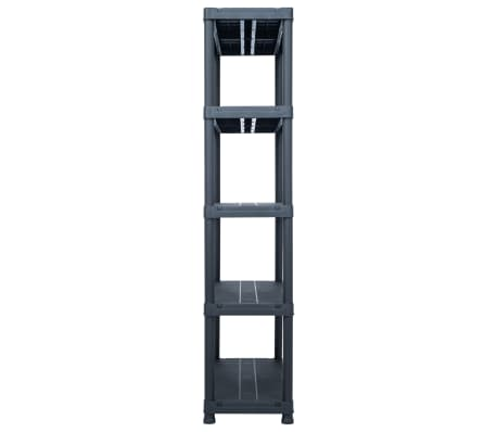 vidaXL Sandėliavimo lentyna, juoda, 80x40x180cm, plastikas, 250kg[3/8]