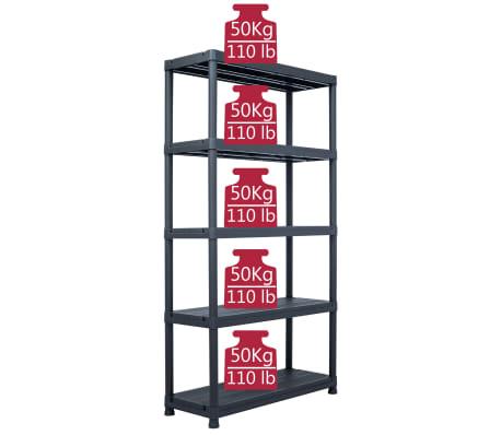 vidaXL Sandėliavimo lentyna, juoda, 80x40x180cm, plastikas, 250kg[7/8]