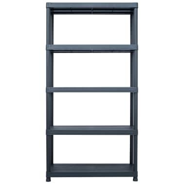 "vidaXL Storage Shelf Rack Black 551.2 lb 31.5""x15.7""x70.9"" Plastic[2/8]"