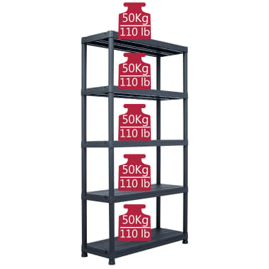 "vidaXL Storage Shelf Rack Black 551.2 lb 31.5""x15.7""x70.9"" Plastic[7/8]"