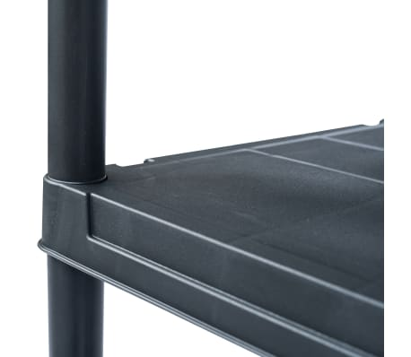 vidaXL Stojalo s policami plastika 500 kg 90x60x180 cm črno[4/8]