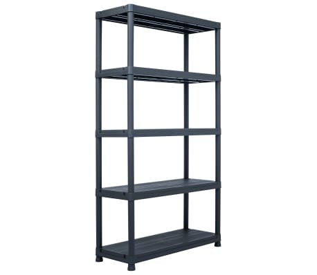 "vidaXL Storage Shelf Rack Black 1102.3 lb 39.4""x15.7""x70.9"" Plastic[1/8]"