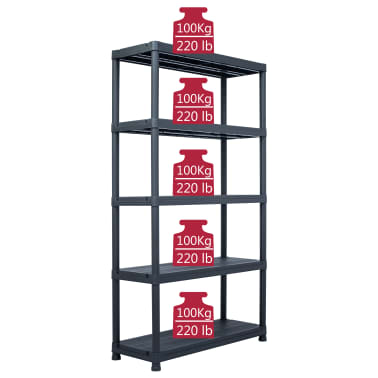 "vidaXL Storage Shelf Rack Black 1102.3 lb 39.4""x15.7""x70.9"" Plastic[7/8]"