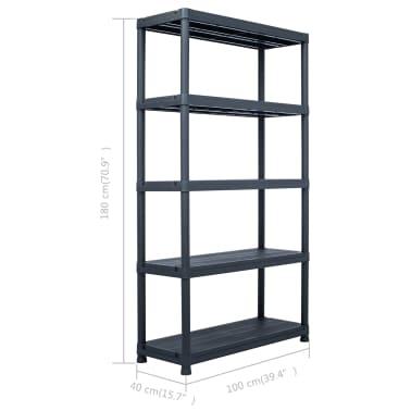"vidaXL Storage Shelf Rack Black 1102.3 lb 39.4""x15.7""x70.9"" Plastic[8/8]"