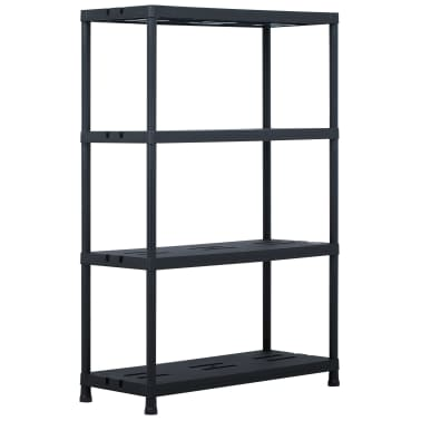 "vidaXL Storage Shelf Rack Black 485 lb 35.4""x15.7""x54.3"" Plastic[1/7]"