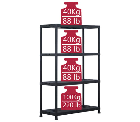"vidaXL Storage Shelf Rack Black 485 lb 35.4""x15.7""x54.3"" Plastic[6/7]"