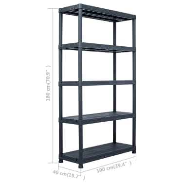 "vidaXL Storage Shelf Rack Black 485 lb 35.4""x15.7""x54.3"" Plastic[7/7]"