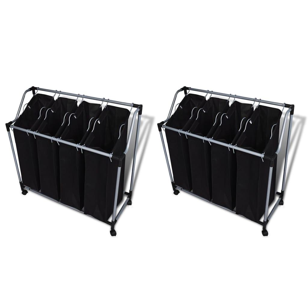 vidaXL Koše na třídění prádla s vaky 2 ks černo-šedé