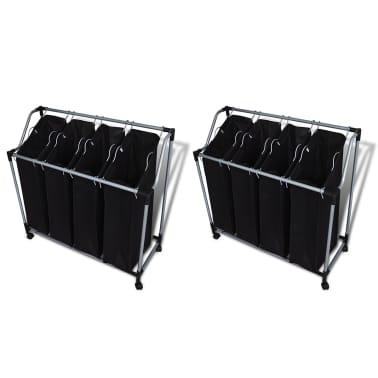 vidaXL Separador de colada con bolsas 2 unidades negro y gris[1/3]
