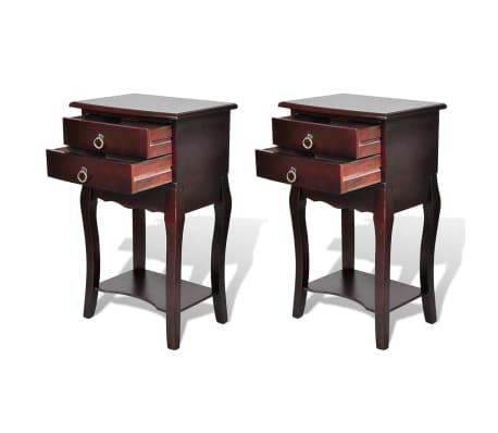 vidaXL Sängbord med lådor 2 st brun