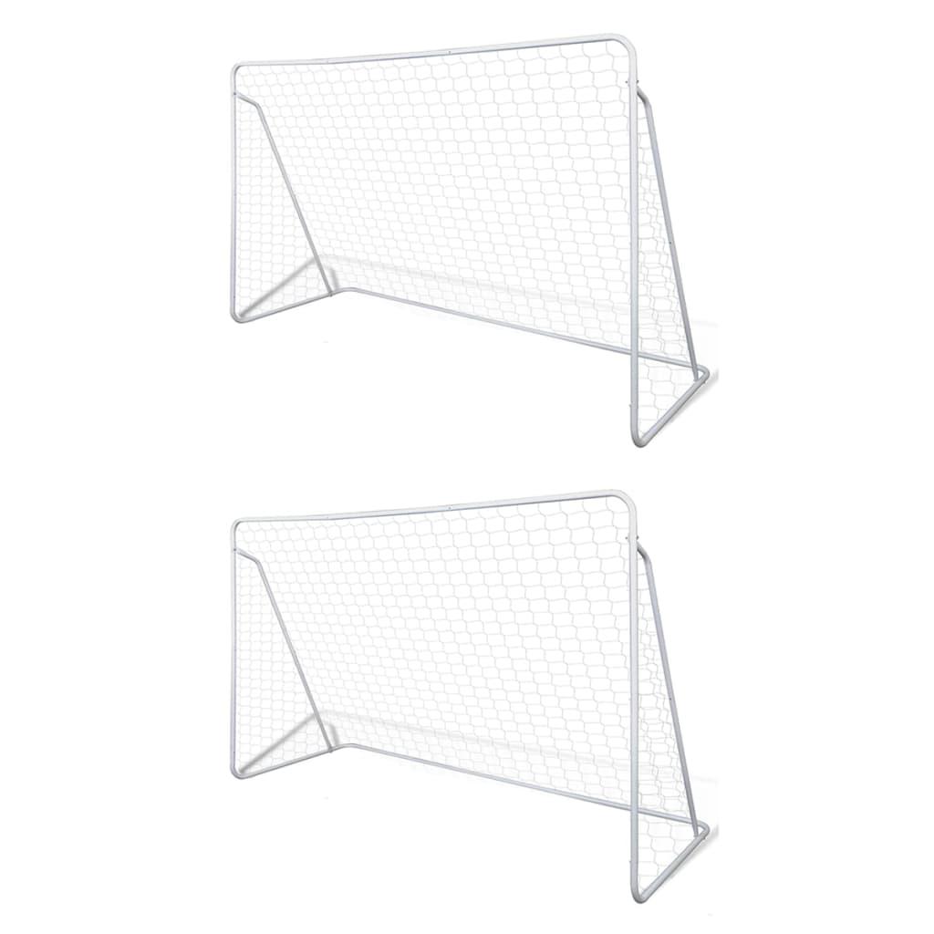 vidaXL Porți de fotbal cu plasă, 2 buc, 240 x 90 x 150 cm, oțel poza 2021 vidaXL