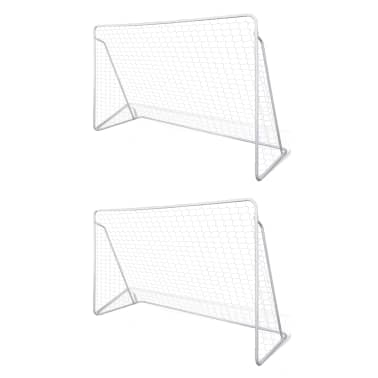 vidaXL Porți de fotbal cu plasă, 2 buc, 240 x 90 x 150 cm, oțel[1/5]