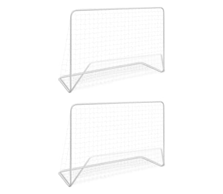 vidaXL Football Goals 2 pcs with Nets 182x61x122 cm Steel White