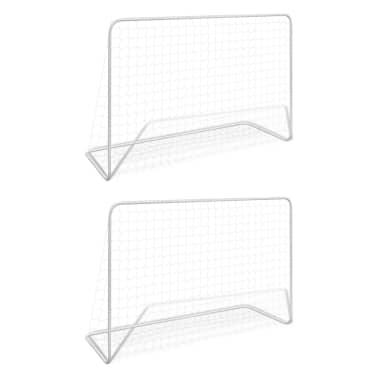 vidaXL Bramki piłkarskie z siatkami, 2 szt. 182x61x122 cm, stal, białe[1/5]
