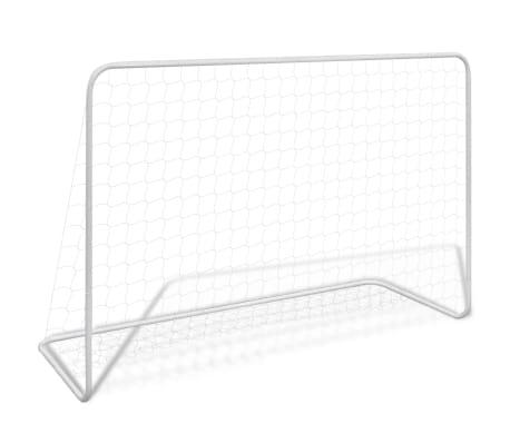 vidaXL Bramki piłkarskie z siatkami, 2 szt. 182x61x122 cm, stal, białe[2/5]